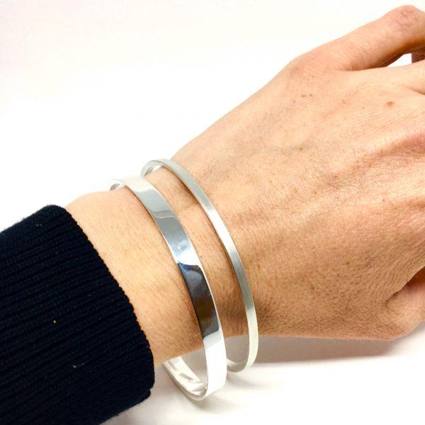 Diagonal, bredt armbånd sølv
