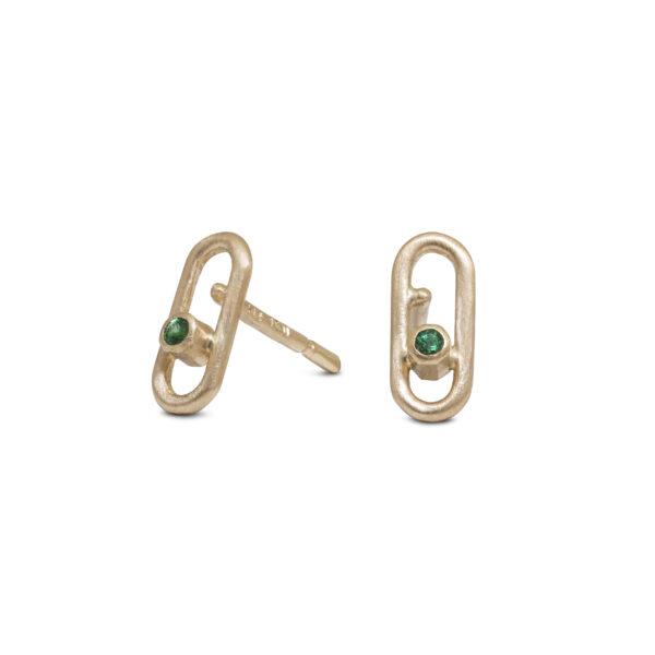 små guldøreringe smaragd